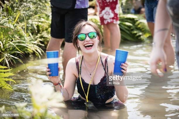 A festival goer at Glastonbury Festival Site on June 21 2017 in Glastonbury England