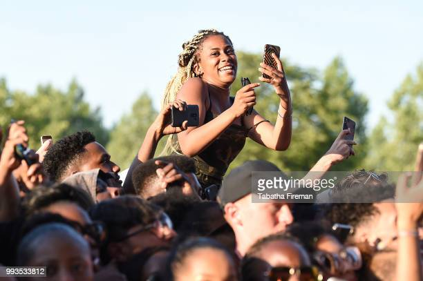Festival goer enjoy the atmosphere in the crowd on Day 2 of Wireless Festival 2018 at Finsbury Park on July 7 2018 in London England