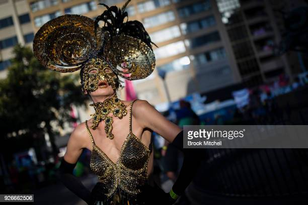 A festival goer gets in the spirit before the 2018 Sydney Gay Lesbian Mardi Gras Parade on March 3 2018 in Sydney Australia The Sydney Mardi Gras...