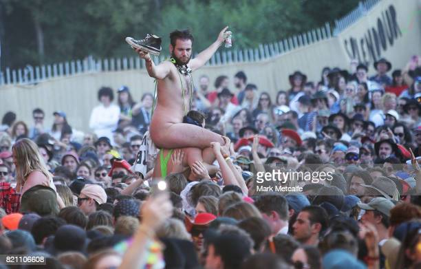 A festival goer in a mankini is seen during Splendour in the Grass 2017 on July 23 2017 in Byron Bay Australia