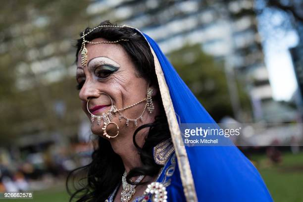 A festival goer is pictured before the 2018 Sydney Gay Lesbian Mardi Gras Parade on March 3 2018 in Sydney Australia The Sydney Mardi Gras parade...