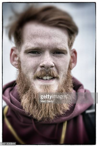 Festival goer James Reilly poses for a photograph at the 2014 Glastonbury Festival on June 26 2014 in Glastonbury England The 24yearold...