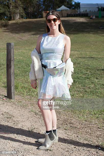 Festival goer poses in an irresdecent outfit during Splendour in the Grass 2016 on July 22 2016 in Byron Bay Australia