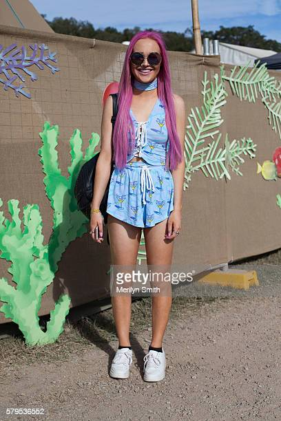 A festival goer poses with pink hair during Splendour in the Grass 2016 on July 22 2016 in Byron Bay Australia