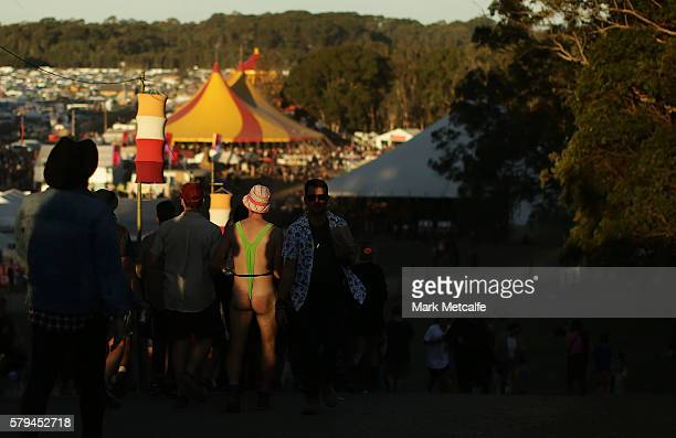 A festival goer wearing a mankini walks during Splendour in the Grass 2016 on July 24 2016 in Byron Bay Australia