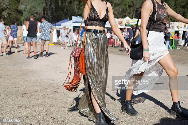 Festival Goer wears a gold skirts and fringe bag during Splendour in the Grass 2016 on July 22, 2016 in Byron Bay, Australia.