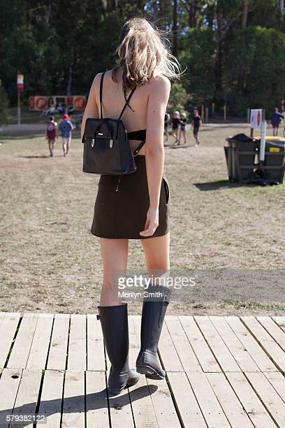 Festival Goer wears Hunter gumboots spins during Splendour in the Grass 2016 on July 22 2016 in Byron Bay Australia