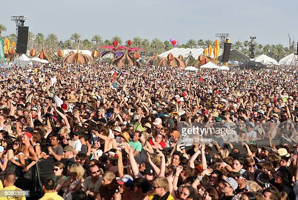 Festival goers are seen during day 3 of the Coachella Valley Music and Arts Festival held at the Empire Polo Field on April 27 2008 in Indio...