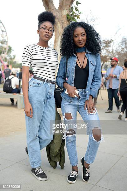 Festival goers are seen during day one at Tyler the Creator's 5th Annual Camp Flog Gnaw Carnival at Exposition Park on November 12 2016 in Los...