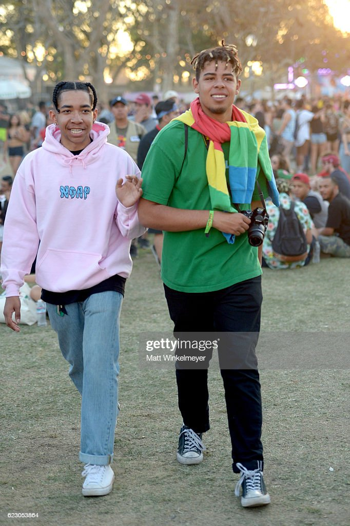 Festival goers are seen during day two of Tyler, the Creator's 5th Annual Camp Flog Gnaw Carnival at Exposition Park on November 13, 2016 in Los Angeles, California.