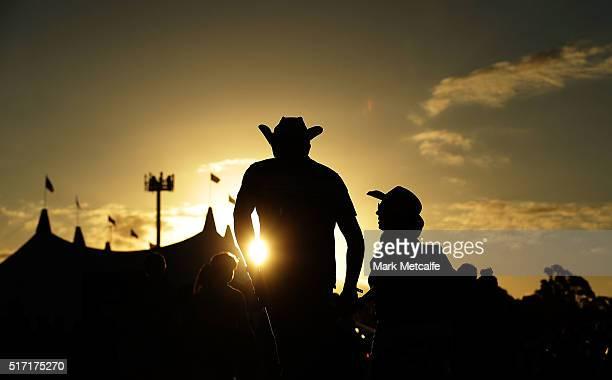 Festival goers arrive at the 2016 Byron Bay Bluesfest on March 24 2016 in Byron Bay Australia