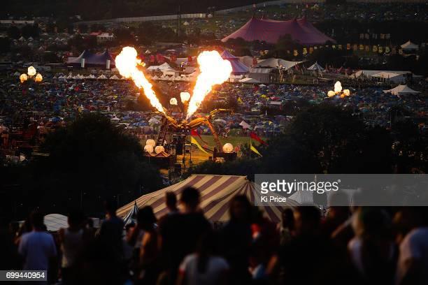 Festival goers arrives at Glastonbury Festival Site on June 21 2017 in Glastonbury England