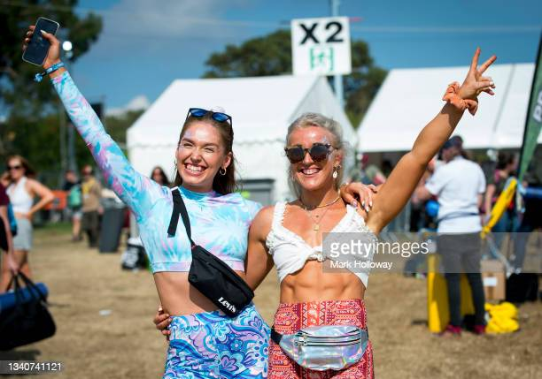 Festival goers arriving at Isle Of Wight Festival 2021 at Seaclose Park on September 16, 2021 in Newport, Isle of Wight.