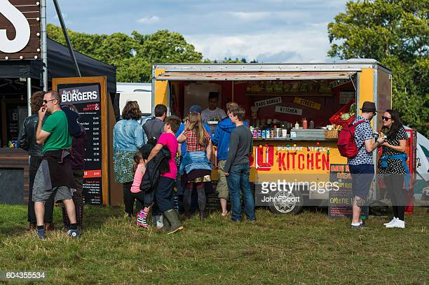 Festival goers at a food outlet at a Scottish festival