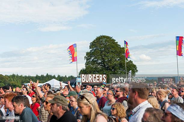 Festival goers at a summer music festival in Scotland
