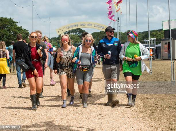 Festival goers at Isle of Wight Festival 2019 at Seaclose Park on June 14 2019 in Newport Isle of Wight