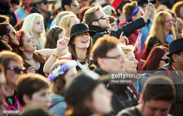 Festival goers at the main stage at the Wickerman festival at Dundrennan on July 25, 2015 in Dumfries, Scotland.
