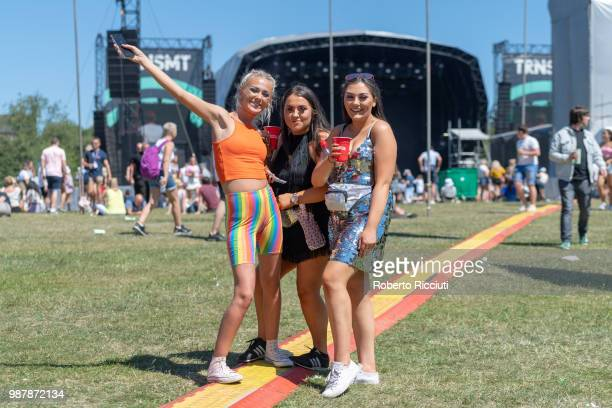 Festival goers at the Main stage on the second day of the TRNSMT Festival at Glasgow Green on June 30 2018 in Glasgow Scotland