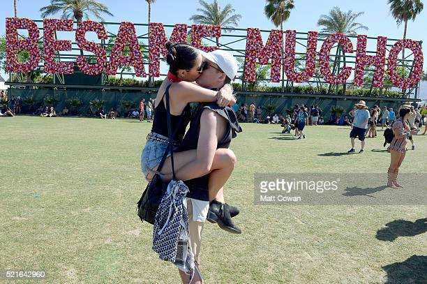 Festival goers attend day 2 of the 2016 Coachella Valley Music Arts Festival Weekend 1 at the Empire Polo Club on April 16 2016 in Indio California