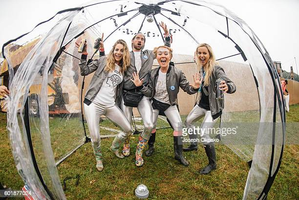Festival goers brave the bad weather on Day 3 of Bestival at Robin Hill Country Park on September 10 2016 in Newport Isle of Wight