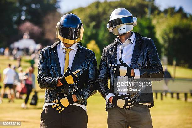 Festival goers dress up as Daft Punk for The Future theme on Day 1 of Bestival at Robin Hill Country Park on September 8 2016 in Newport Isle of Wight