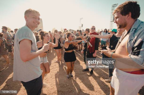Singers Michi Beck and Thomas D of The band 'Die Fantastischen Vier' performs live on stage during day 3 of the Highfield Festival at Stoermthaler...