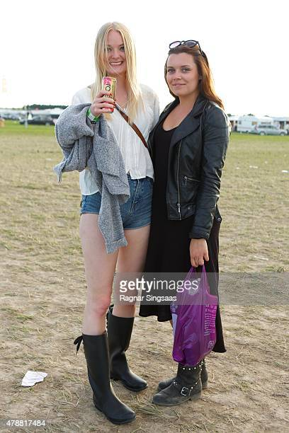 Festival goers during the third day of the Bravalla Festival on June 27, 2015 in Norrkoping, Sweden.