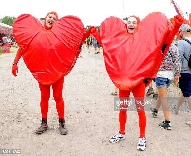 Festival goers enjoy day 2 of the Glastonbury Festival 2017 at Worthy Farm Pilton on June 23 2017 in Glastonbury England