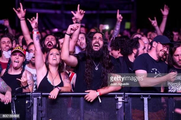 Festival goers enjoy Mastodon performance at the Download Festival on June 23 2017 in Madrid Spain
