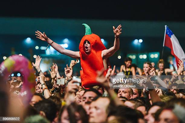 Festival goers enjoy Red Hot Chili Peppers as they perform on stage on Day 2 at Reading Festival 2016 on August 27, 2016 in Reading, England.