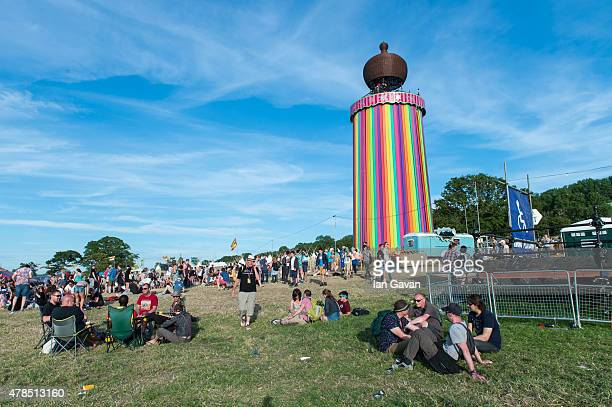 Festival goers enjoy the atmosphere during Day 1 of the Glastonbury Festival at Worthy Farm Pilton on June 25 2015 in Glastonbury England Now its...