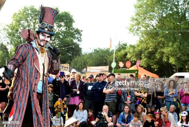 Festival goers enjoy the circus area during the Glastonbury Festival 2017 at Worthy Farm Pilton on June 22 2017 in Glastonbury England