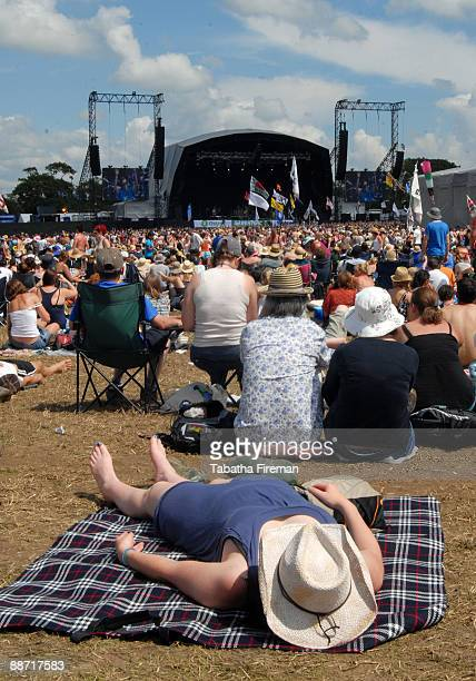 Festival goers gather at The Other Stage at Glastonbury Festival at Worthy Farm on June 27 2009 in Glastonbury England