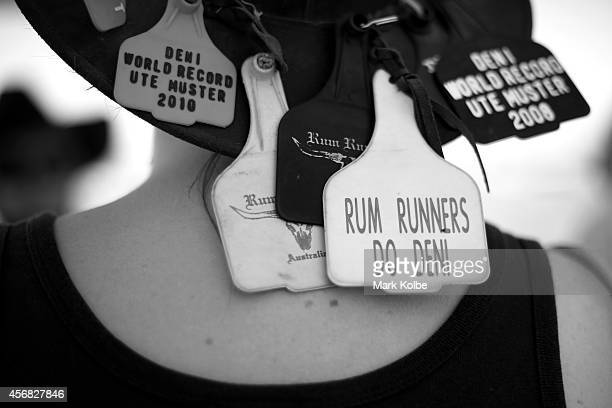 A festival goer's hat tags are seen on the first day on the second day of the 2014 Deni Ute Muster at the Play on the Plains Festival ground on...