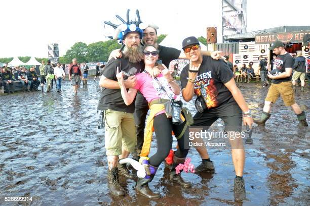 Festival goers having a great time during the Wacken Open Air festival on August 3 2017 in Wacken Germany Wacken is a village in northern Germany...