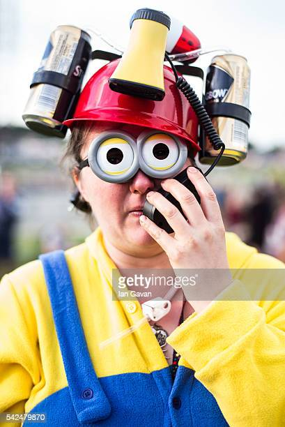 Festival goers in fancy dress enjoys the atmosphere at the Glastonbury Festival at Worthy Farm, Pilton on June 23, 2016 in Glastonbury, England. Now...