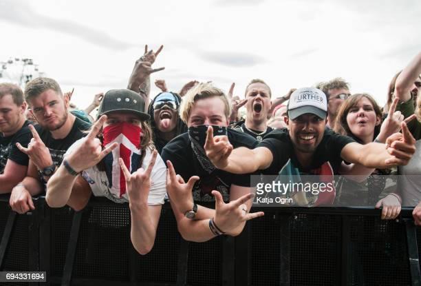 Festival goers on Day 1 of Download Festival on at Donington Park June 9 2017 in Castle Donington UK