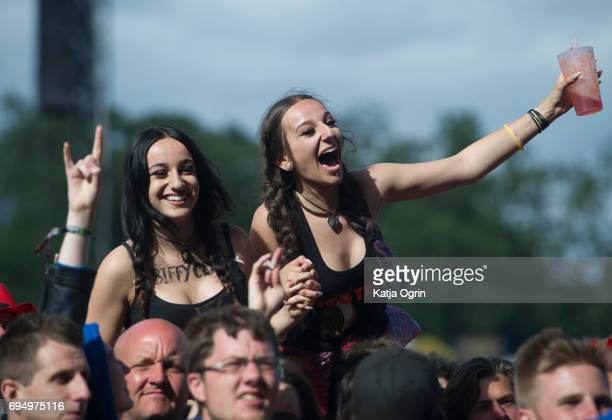 Festival goers on Day 3 of Download Festival at Donington Park on June 11 2017 in Castle Donington UK