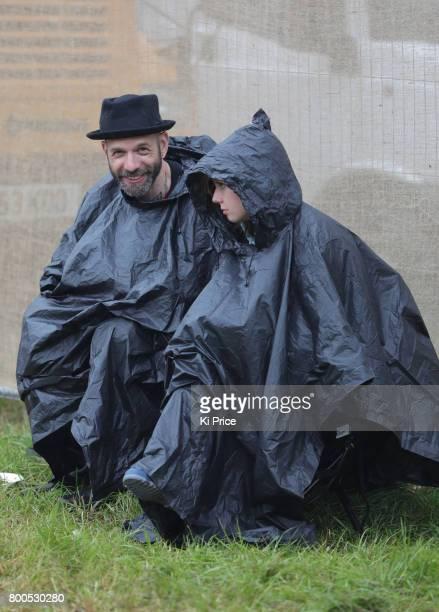 Festival goers on day 3 of the Glastonbury Festival 2017 at Worthy Farm Pilton on June 24 2017 in Glastonbury England