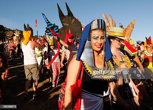 Festival goers partcipate in a Fiesta on day three of the Falls Music Festival on December 31 2011 in Lorne Australia