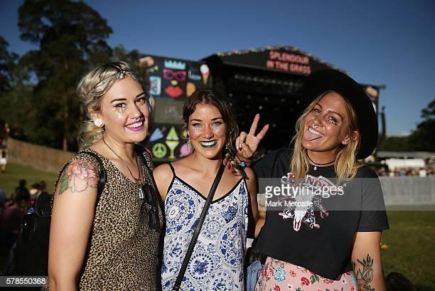 Festival goers pose during Splendour in the Grass 2016 on July 22 2016 in Byron Bay Australia