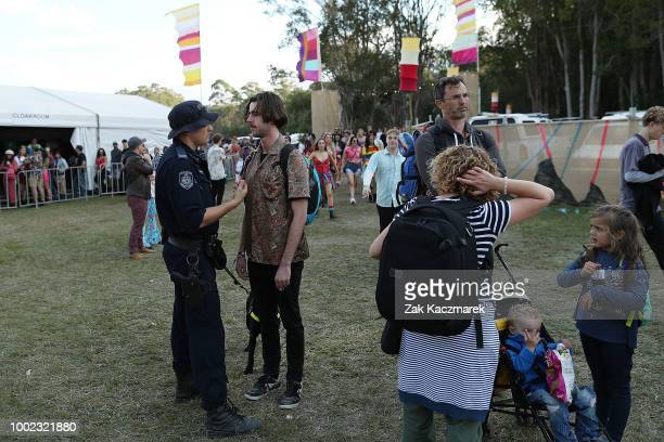 Festival goers pose during Splendour in the Grass 2018 on July 20 2018 in Byron Bay Australia