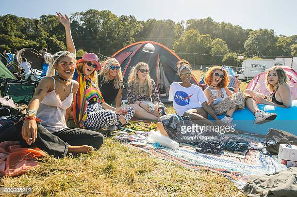 Festival goers relax outside their tents on Day 1 of Bestival at Robin Hill Country Park on September 8 2016 in Newport Isle of Wight