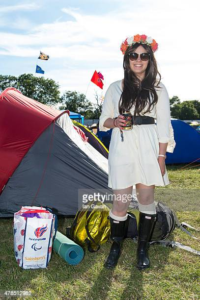 Festival goers settle into their accommodation in XXXX during Day 1 of the Glastonbury Festival at Worthy Farm Pilton on June 25 2015 in Glastonbury...