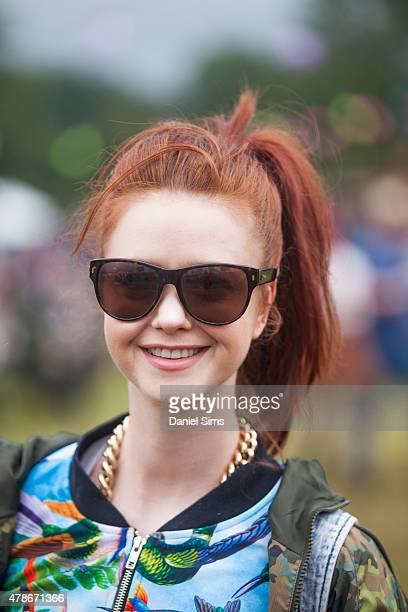 A festival goers sunglasses at the Glastonbury Festival at Worthy Farm Pilton on June 26 2015 in Glastonbury England