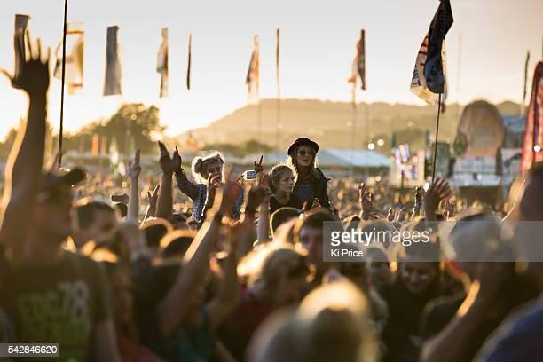 Festival goers watch Bastille on the Other stage at Glastonbury Festival 2016 at Worthy Farm Pilton on Friday June 24 2016 in Glastonbury England