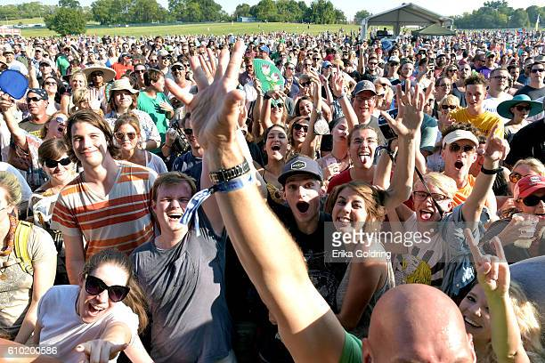 Festival goers watch Grace Potter perform at the Pilgrimage Music Cultural Festival Day 1 on September 24 2016 in Franklin Tennessee