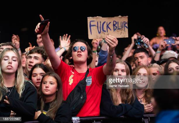 Festival goers watch Liam Gallagher during Reading Festival 2021 at Richfield Avenue on August 29, 2021 in Reading, England.