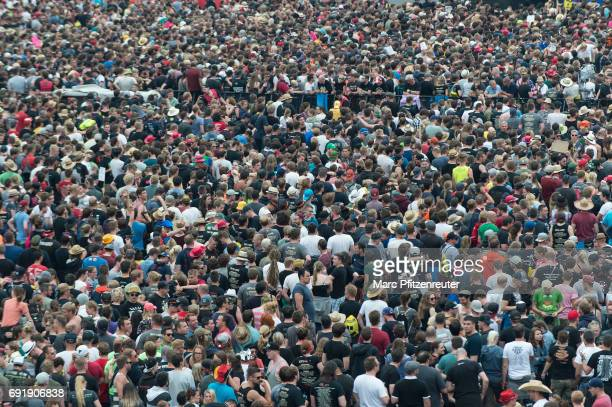 Festival guests during the second day of 'Rock am Ring' on June 3 2017 in Nuerburg Germany