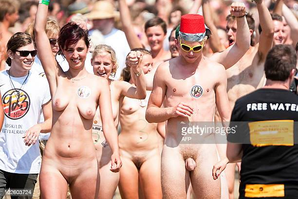 100 festival guests line up to become participants in this year's nude run at the Roskilde Festival July 3 2010 Only the first 30 festival men and...
